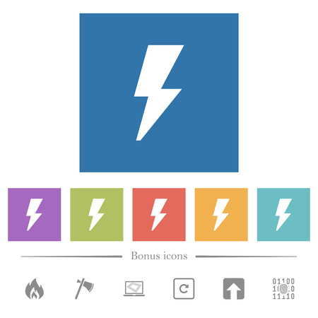 Flash flat white icons in square backgrounds. 6 bonus icons included.