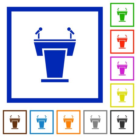 Conference podium with microphones flat color icons in square frames on white background