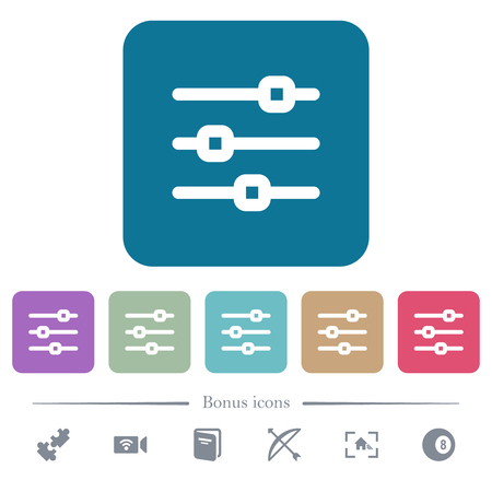 Horizontal adjustment white flat icons on color rounded square backgrounds. 6 bonus icons included Illustration