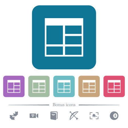 Spreadsheet vertically merge table cells white flat icons on color rounded square backgrounds. 6 bonus icons included Иллюстрация