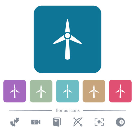 Wind turbine white flat icons on color rounded square backgrounds. 6 bonus icons included