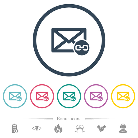 Mail attachment flat color icons in round outlines. 6 bonus icons included.