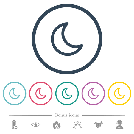 Moon shape flat color icons in round outlines. 6 bonus icons included. 向量圖像