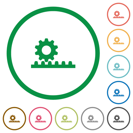 Cogwheel with rack pinion flat color icons in round outlines on white background