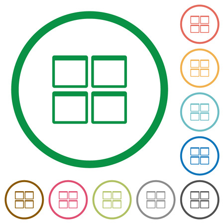 Admin dashboard panels flat color icons in round outlines on white background