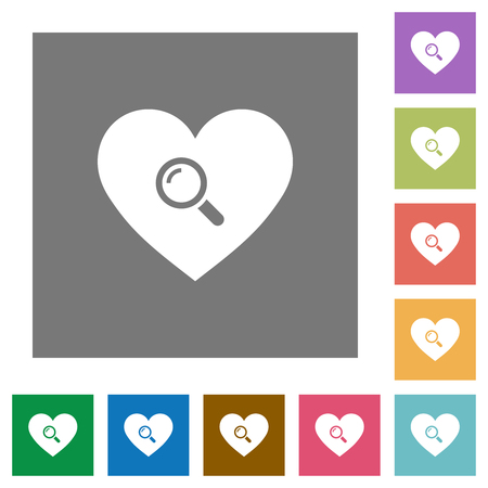 Dating flat icons on simple color square backgrounds