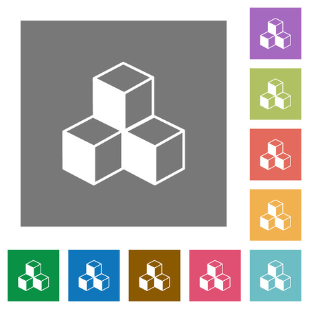 Cubes flat icons on simple color square backgrounds