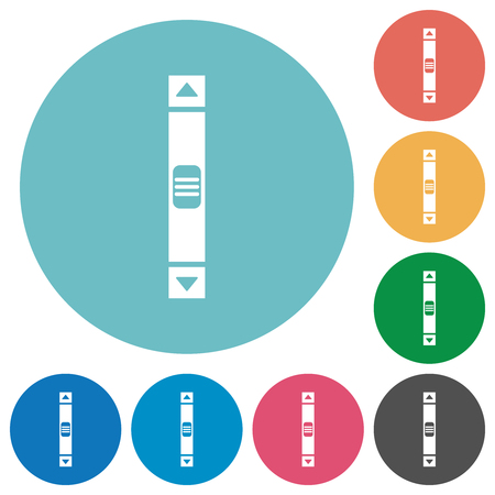 Vertical scroll bar flat white icons on round color backgrounds Vettoriali
