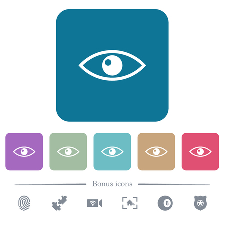 Eye white flat icons on color rounded square backgrounds. 6 bonus icons included
