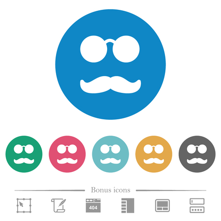Glasses and mustache flat white icons on round color backgrounds. 6 bonus icons included.