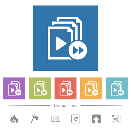 Playlist fast forward flat white icons in square backgrounds. 6 bonus icons included.