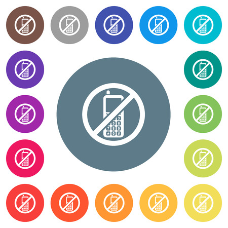 Cellphone not allowed flat white icons on round color backgrounds. 17 background color variations are included.