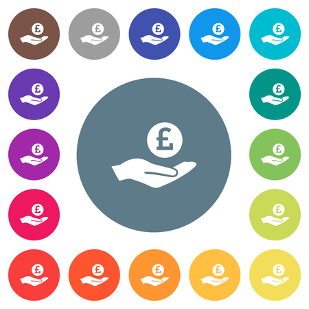Pound earnings flat white icons on round color backgrounds. 17 background color variations are included.