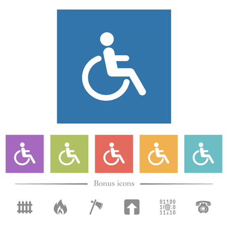 Disability flat white icons in square backgrounds. 6 bonus icons included.
