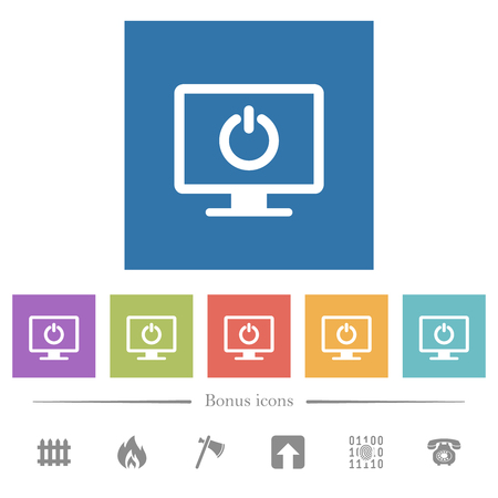 Display standby mode flat white icons in square backgrounds. 6 bonus icons included.
