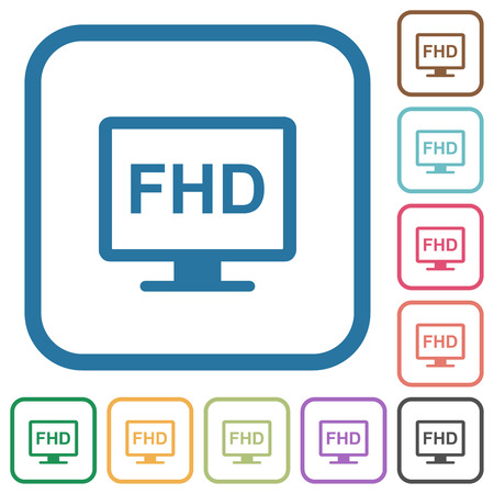 Full HD display simple icons in color rounded square frames on white background