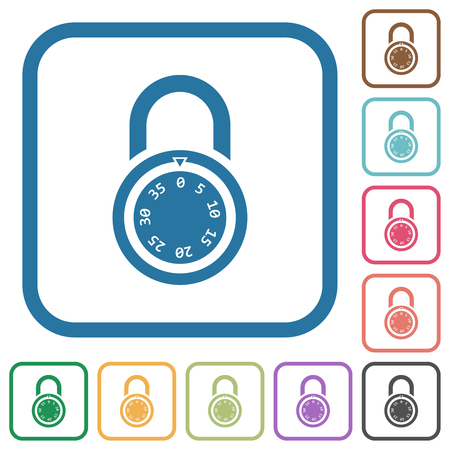 Locked round combination lock simple icons in color rounded square frames on white background