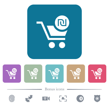 Checkout with new Shekel cart white flat icons on color rounded square backgrounds. 6 bonus icons included