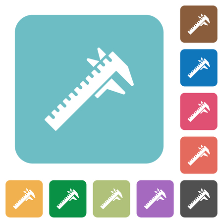 Caliper white flat icons on color rounded square backgrounds