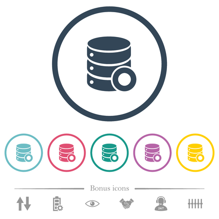 Database macro record flat color icons in round outlines. 6 bonus icons included.