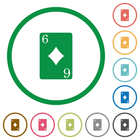 Six of diamonds card flat color icons in round outlines on white background