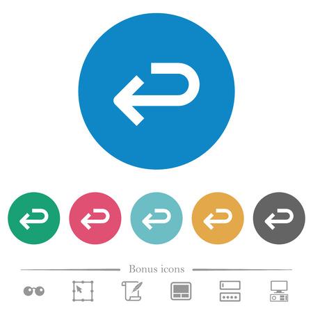 Back arrow flat white icons on round color backgrounds. 6 bonus icons included. Ilustrace