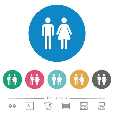 Male and female sign flat white icons on round color backgrounds. 6 bonus icons included.