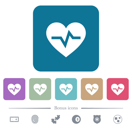 Heartbeat white flat icons on color rounded square backgrounds. 6 bonus icons included
