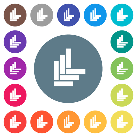 Parquet pattern flat white icons on round color backgrounds. 17 background color variations are included.
