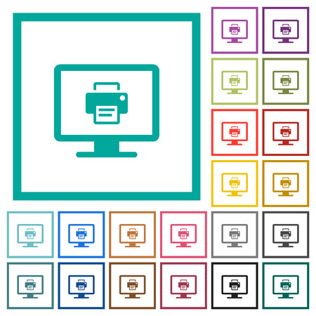 Print screen flat color icons with quadrant frames on white background Stok Fotoğraf - 123810676