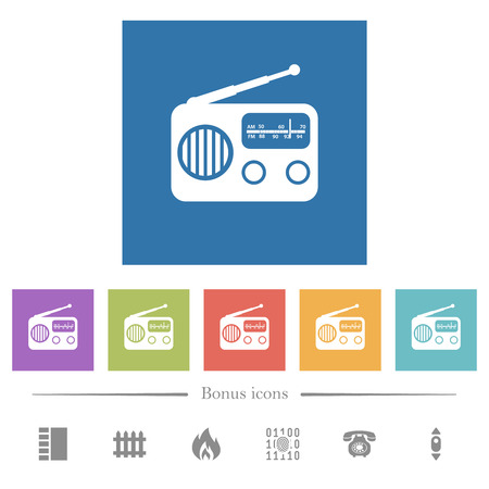 Vintage retro radio flat white icons in square backgrounds. 6 bonus icons included. Ilustração