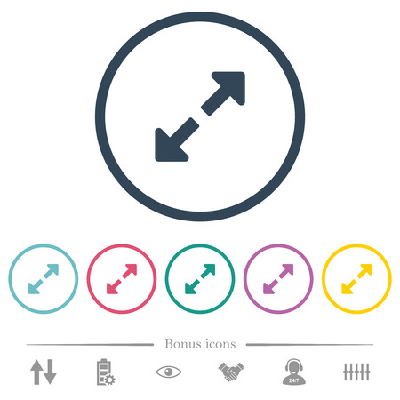 Resize full flat color icons in round outlines. 6 bonus icons included.