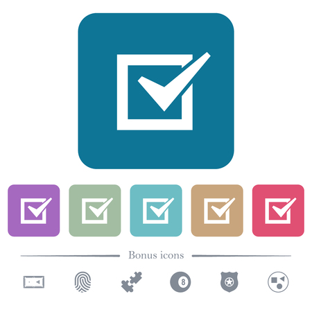 Checked box white flat icons on color rounded square backgrounds. 6 bonus icons included