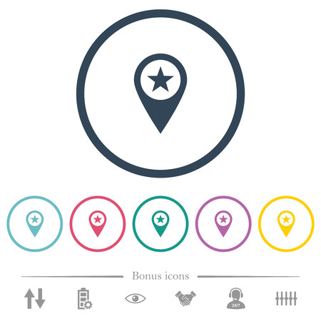 POI GPS map location flat color icons in round outlines. 6 bonus icons included.