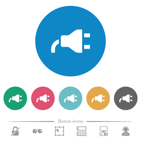 Power plug flat white icons on round color backgrounds. 6 bonus icons included.