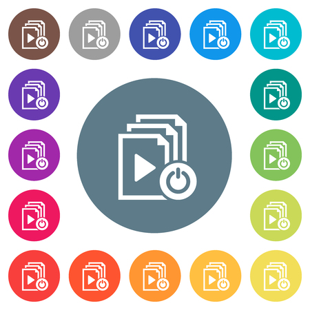 Exit from playlist flat white icons on round color backgrounds. 17 background color variations are included.