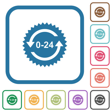 24 hours sticker with arrows simple icons in color rounded square frames on white background Çizim