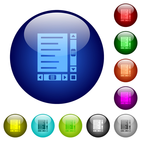 Document with content and scroll bars icons on round color glass buttons Vettoriali