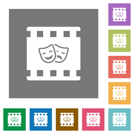 Theatrical movie flat icons on simple color square backgrounds