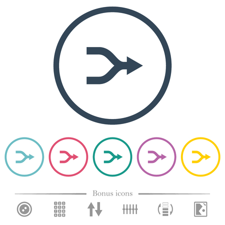 Merge right arrows flat color icons in round outlines. 6 bonus icons included.