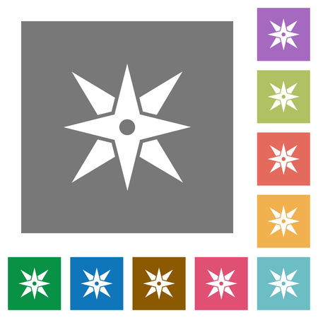 Compass flat icons on simple color square backgrounds