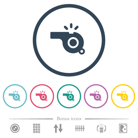 Whistle flat color icons in round outlines. 6 bonus icons included.