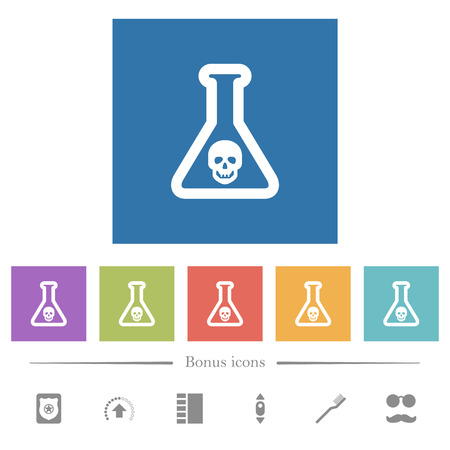 Dangerous chemical experiment flat white icons in square backgrounds. 6 bonus icons included. Ilustrace