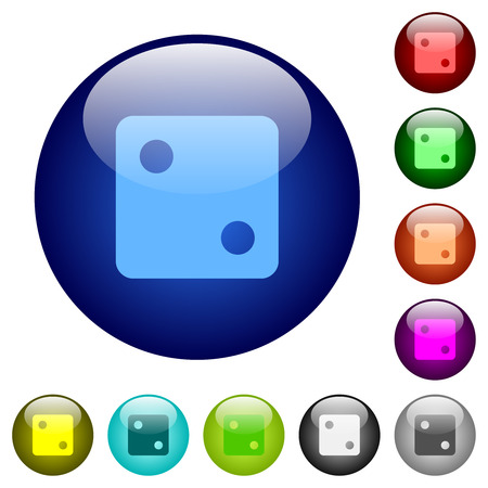 Dice two icons on round color glass buttons Illustration