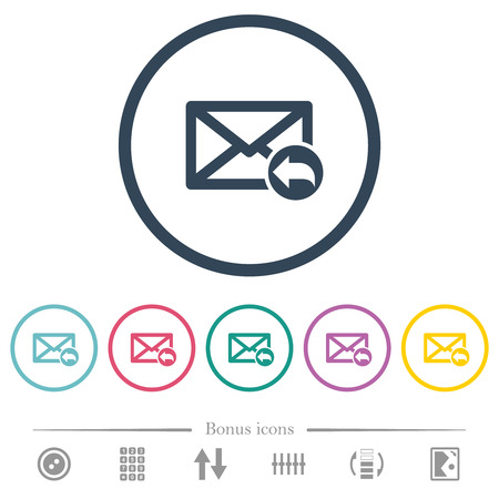 Reply mail flat color icons in round outlines. 6 bonus icons included.