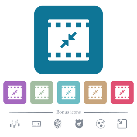 Movie resize small white flat icons on color rounded square backgrounds Ilustração