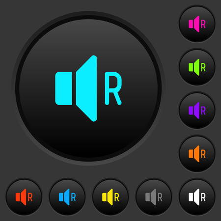 Right audio channel dark push buttons with vivid color icons on dark grey background Illustration