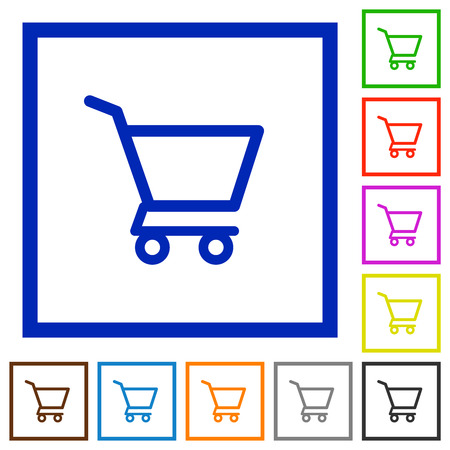 Empty shopping cart flat color icons in square frames on white background