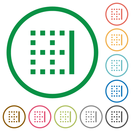 Right border flat color icons in round outlines on white background