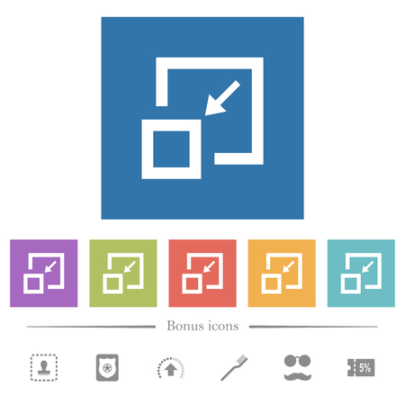 Shrink flat white icons in square backgrounds. 6 bonus icons included.
